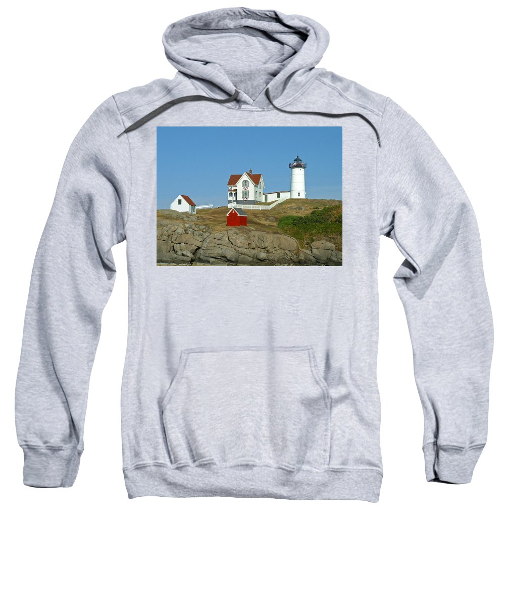 Nubble Sweatshirt featuring the photograph Nubble Light by Margie Wildblood