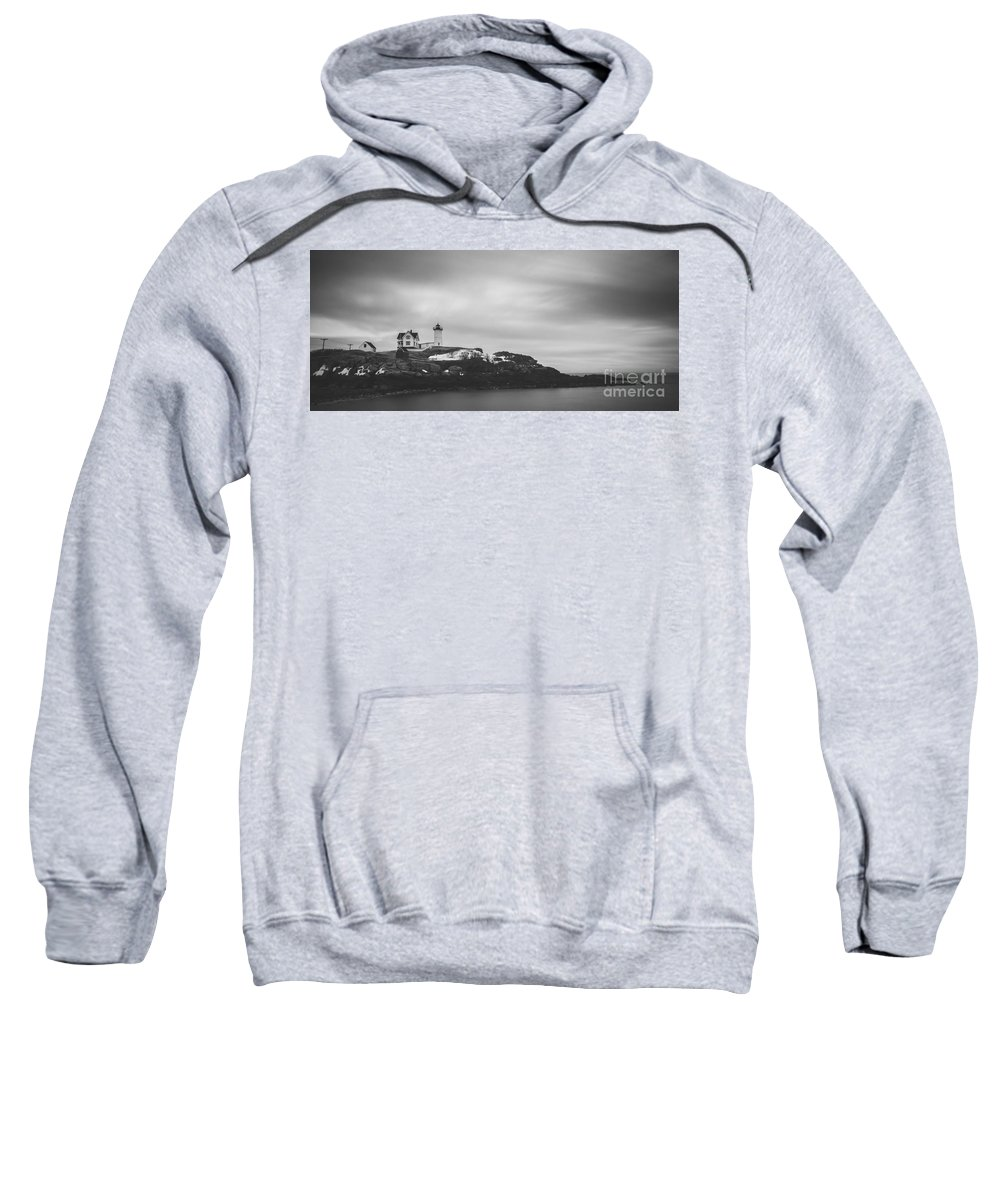 Nubble Lighthouse Sweatshirt featuring the photograph Nubble Lighthouse Overcast Bw by Michael Ver Sprill