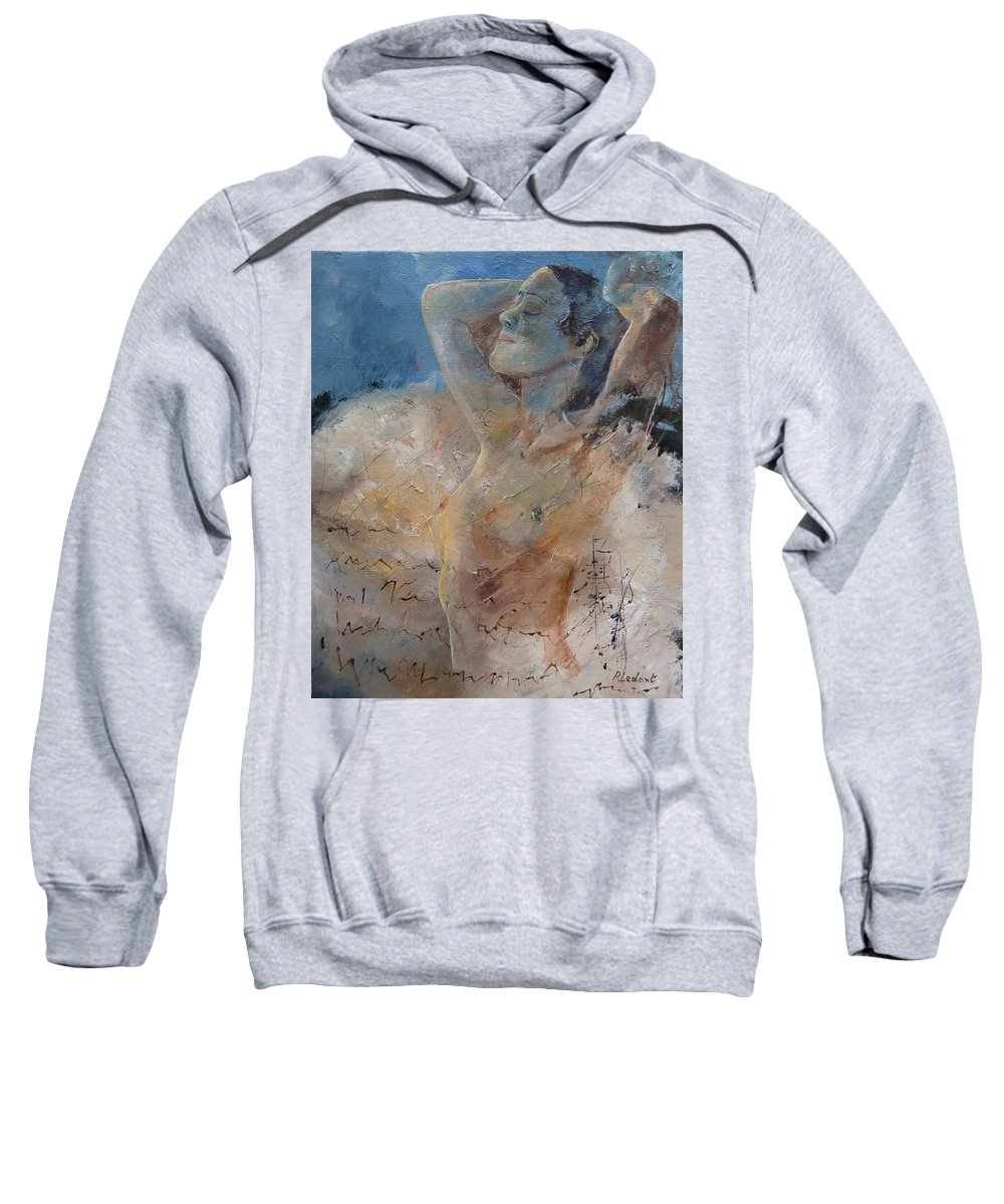 Nude Sweatshirt featuring the painting Nude 0508 by Pol Ledent