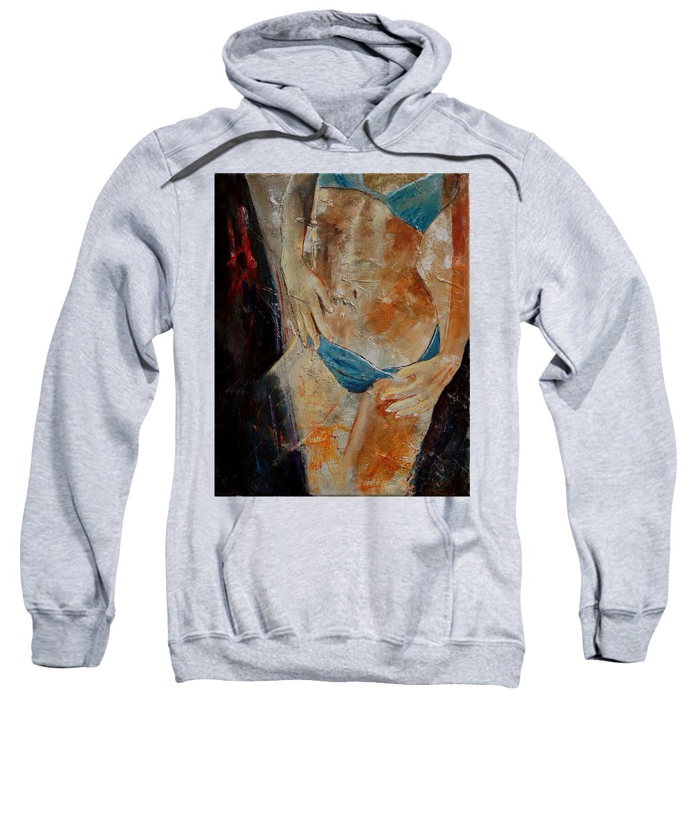 Girl Nude Sweatshirt featuring the painting Nude 450608 by Pol Ledent