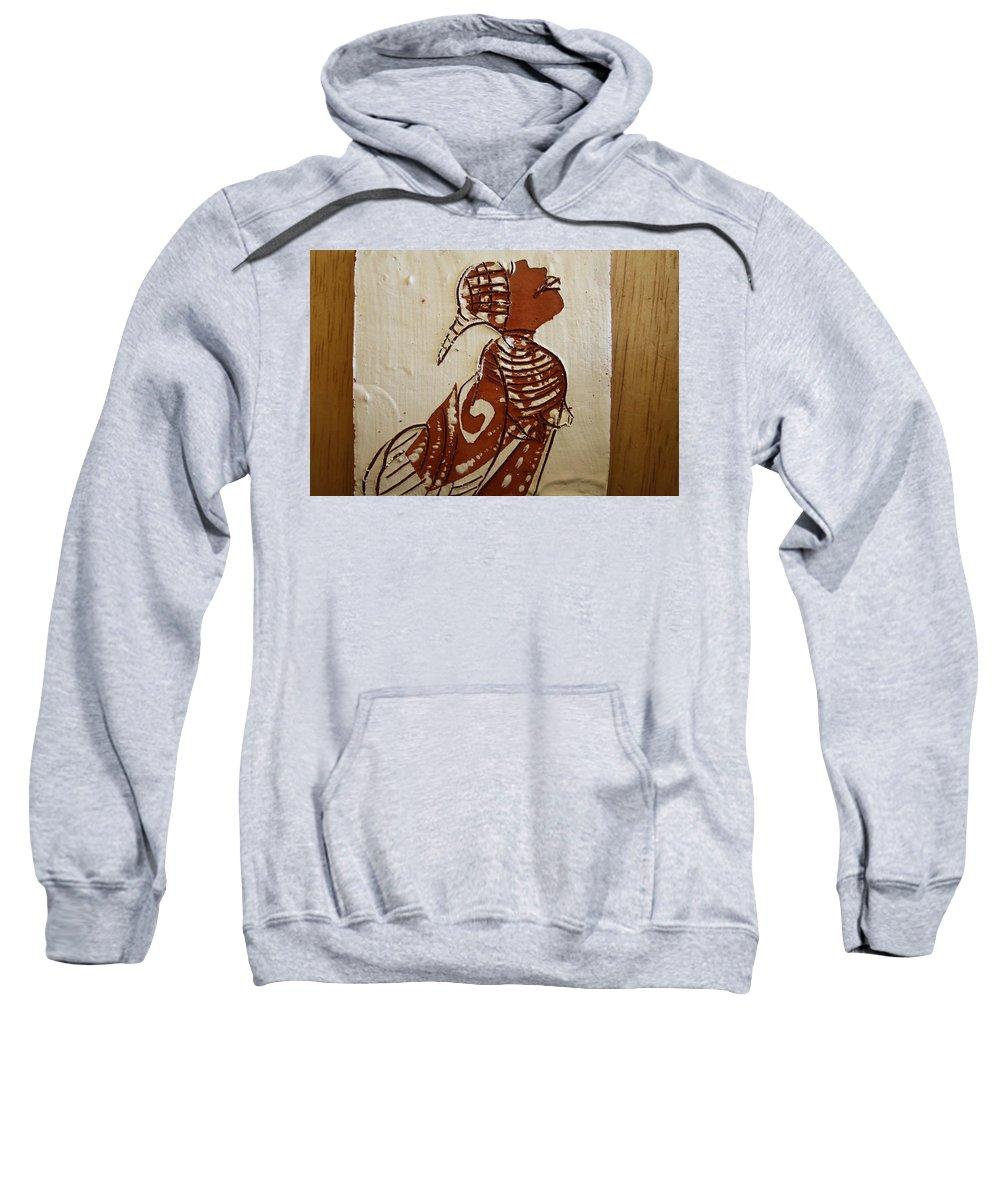 Jesus Sweatshirt featuring the ceramic art Nude 5 - Tile by Gloria Ssali