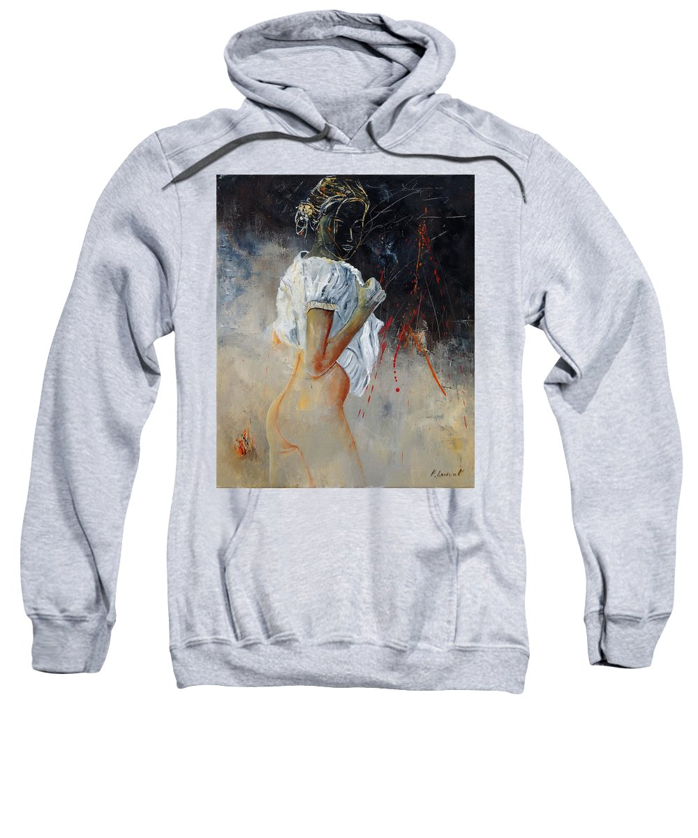 Nude Sweatshirt featuring the painting Nude 560508 by Pol Ledent