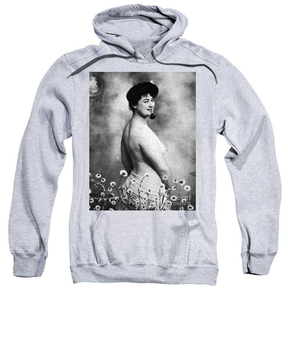 1903 Sweatshirt featuring the photograph Nude And Flowers, 1903 by Granger