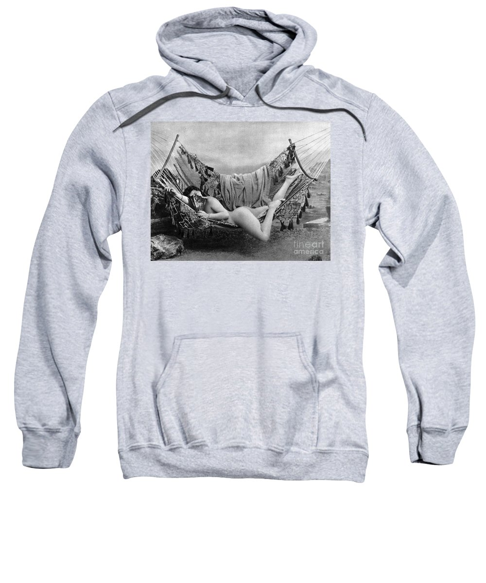 1885 Sweatshirt featuring the photograph Nude In Hammock, C1885 by Granger