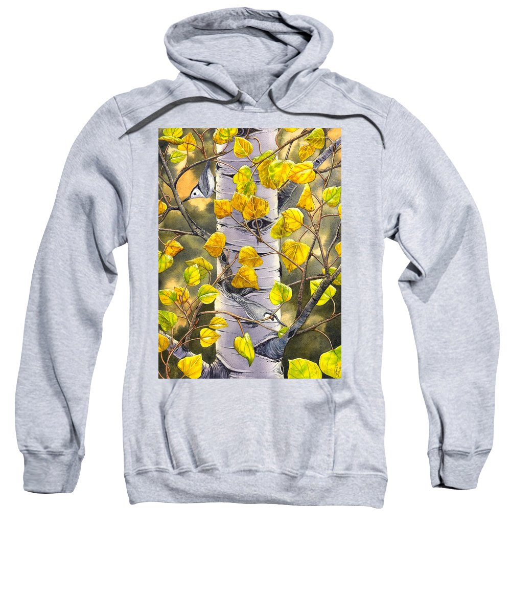 Nuthatch Sweatshirt featuring the painting Nuthatches by Catherine G McElroy
