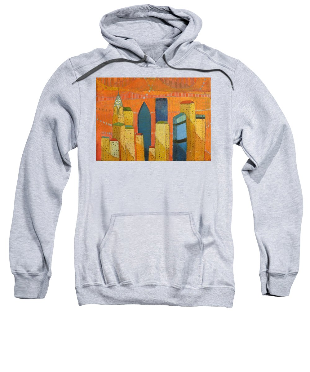 Abstract Cityscape Sweatshirt featuring the painting Nyc With Chrysler by Habib Ayat