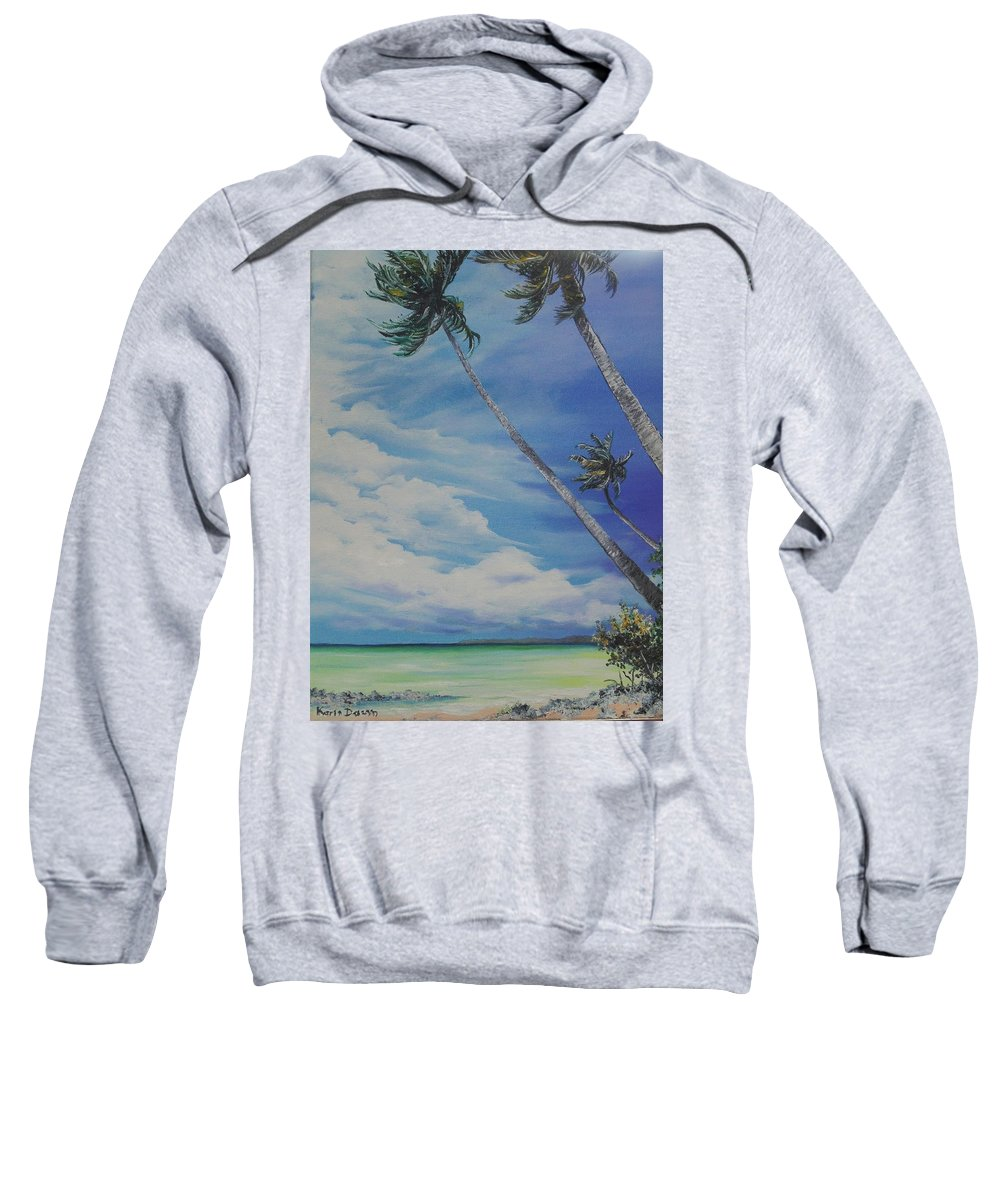 Ocean Painting Seascape Painting Beach Painting Palm Tree Painting Clouds Painting Tobago Painting Caribbean Painting Sea Beach T Obago Palm Trees Sweatshirt featuring the painting Nylon Pool Tobago. by Karin Dawn Kelshall- Best