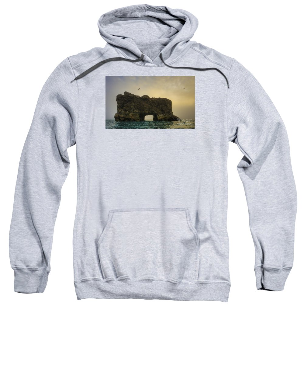 Glaucous Gull Sweatshirt featuring the photograph O Mighty Rock... by Nina Stavlund