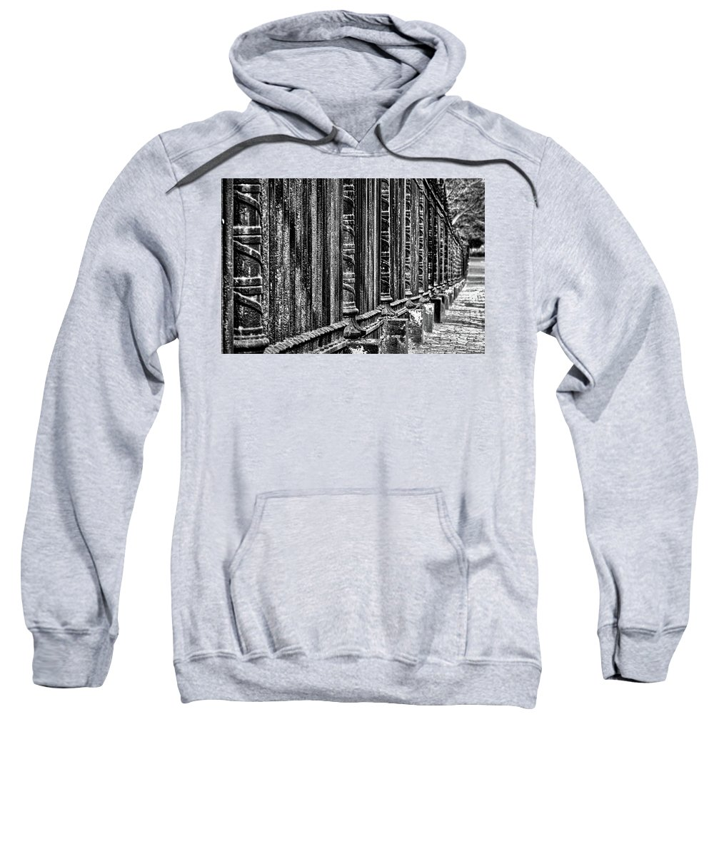 Fence Sweatshirt featuring the photograph Oak Hill Cemetery Fence by Stuart Litoff