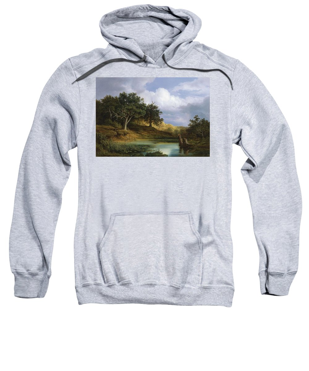 Nature Sweatshirt featuring the painting Oaks Beside The Water 1832 By Christian E. B. Morgenstern by Christian E B Morgenstern