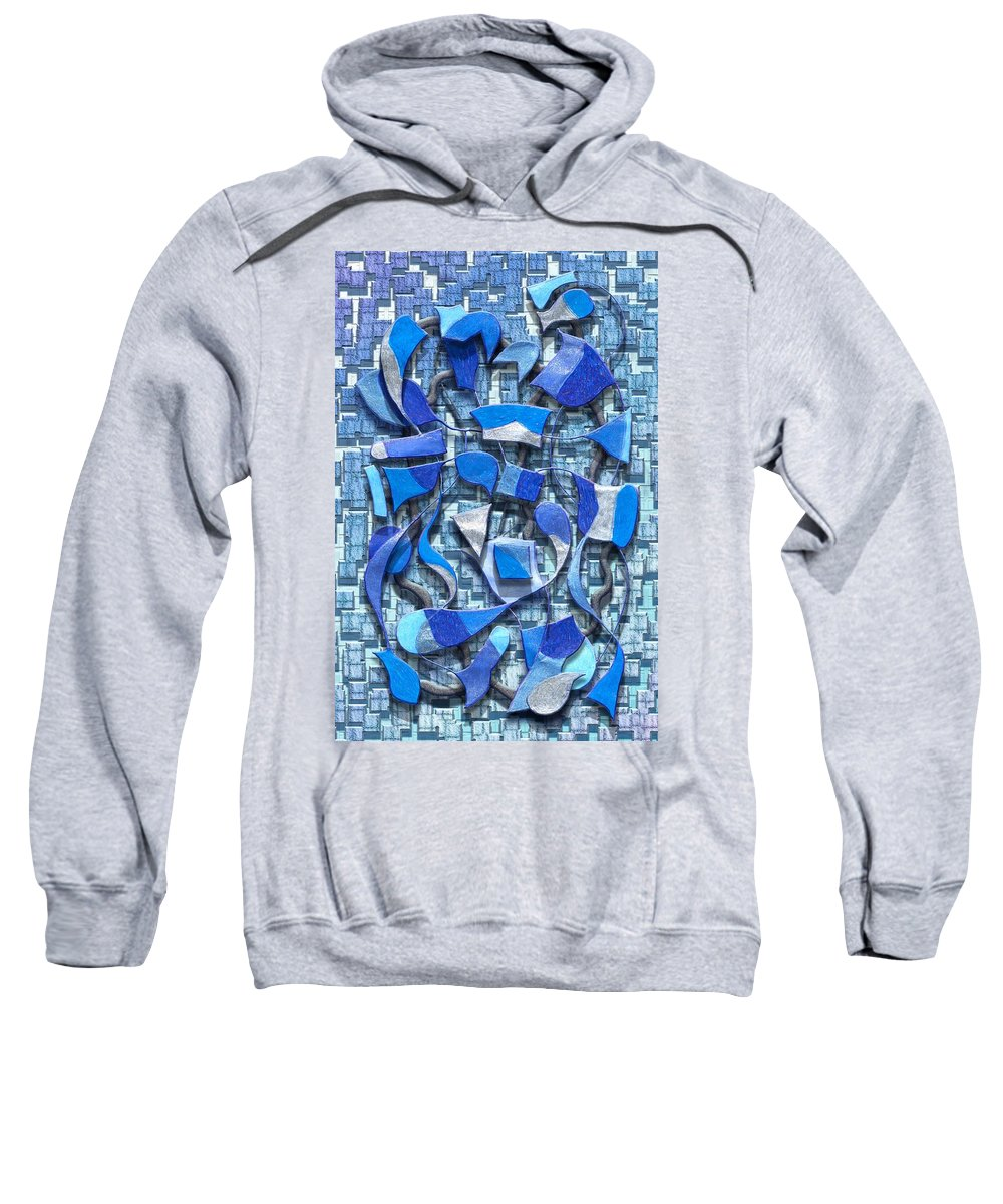 Abstract Sweatshirt featuring the digital art Oars And Rudders - Blue by Mark Sellers