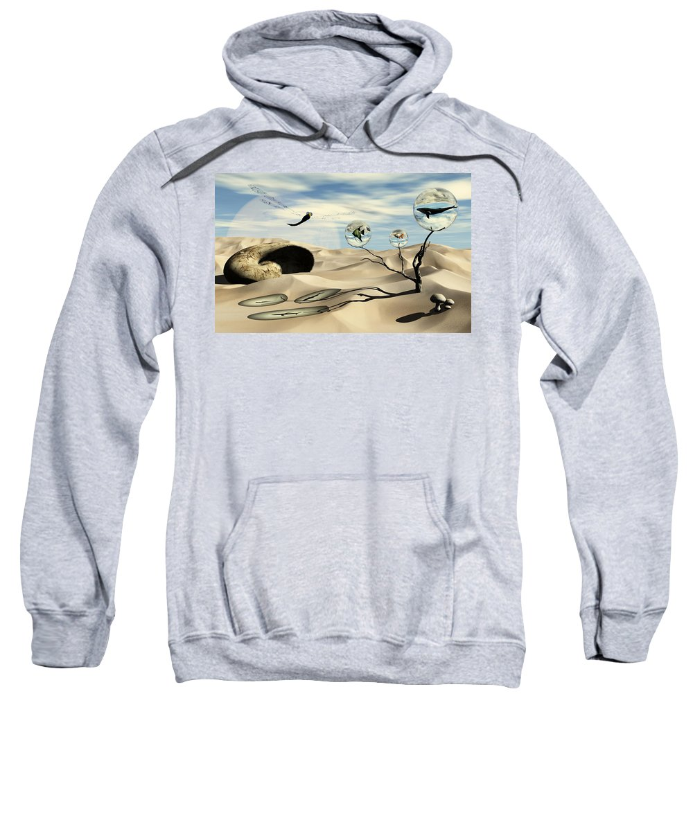 Surrealism Sweatshirt featuring the digital art Observations by Richard Rizzo