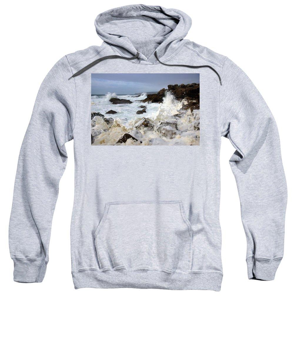 Background Sweatshirt featuring the photograph Ocean Foam by Carlos Caetano