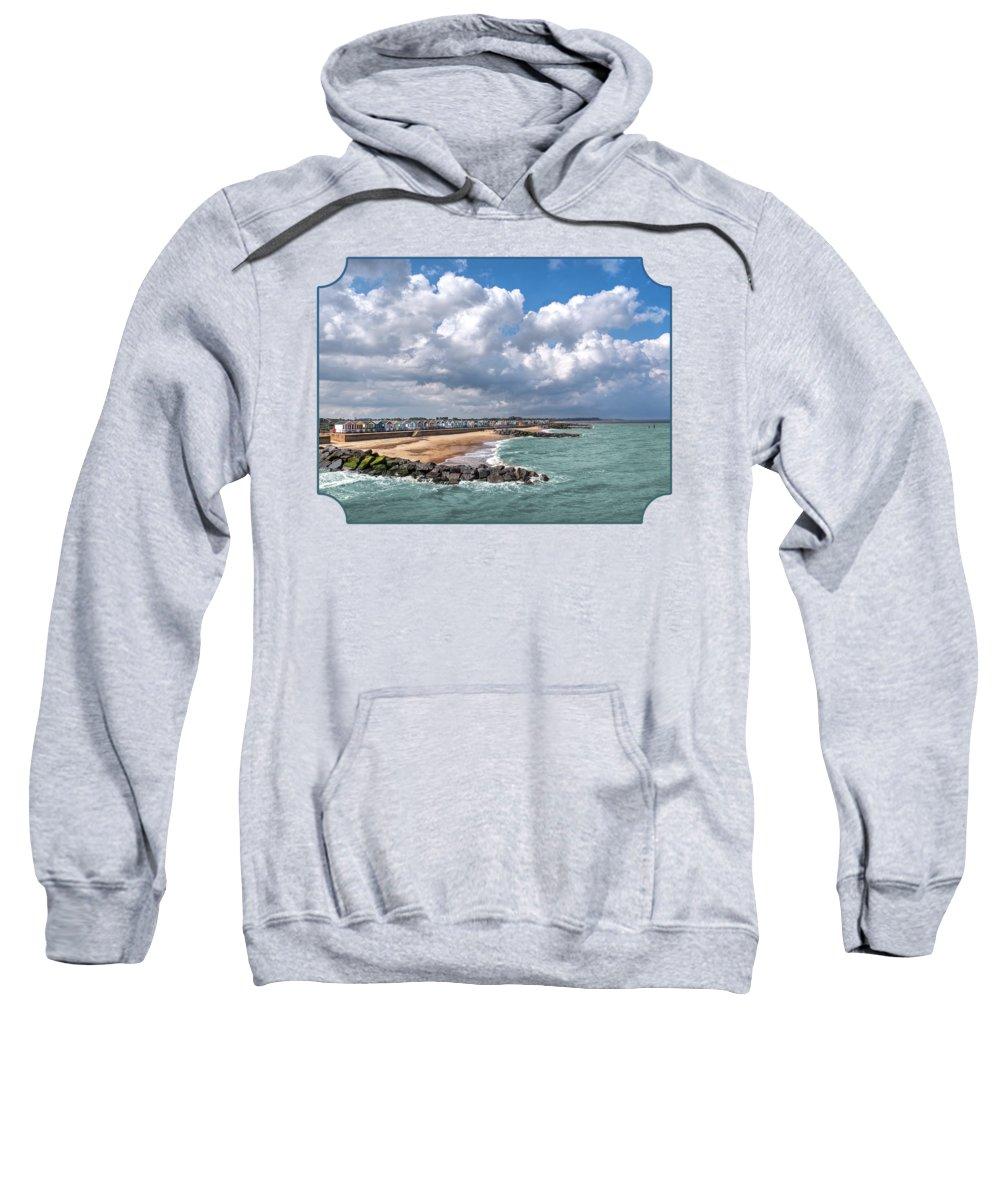 Coastal Scene Sweatshirt featuring the photograph Ocean View - Colorful Beach Huts by Gill Billington