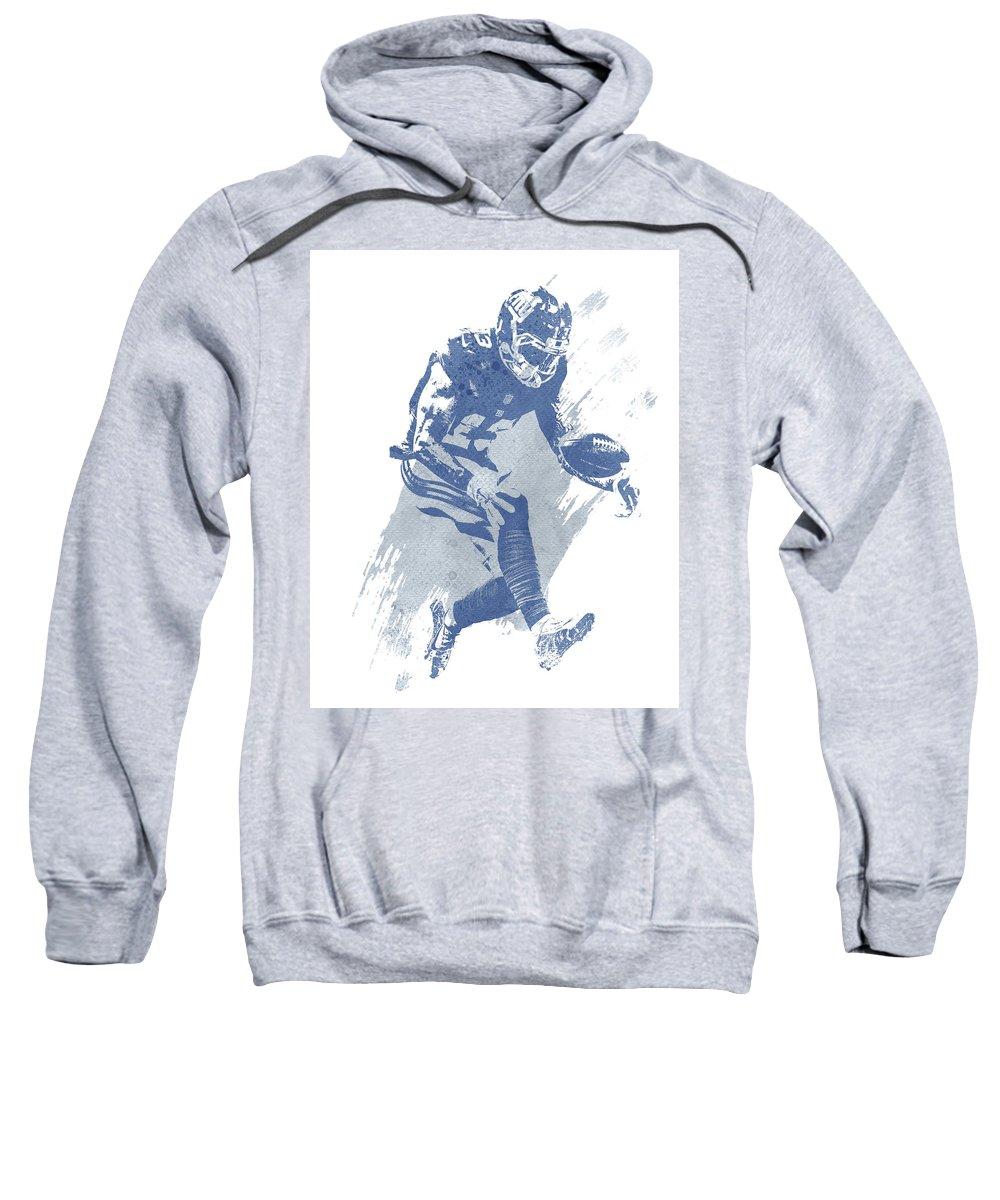 Odell Beckham Jr Sweatshirt featuring the mixed media Odell Beckham Jr New York Giants Water Color Art 3 by Joe Hamilton