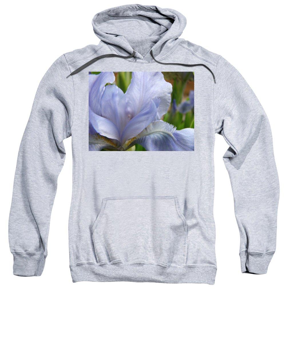 Iris Sweatshirt featuring the photograph Office Art Blue Iris Flower Floral Giclee Baslee Troutman by Baslee Troutman