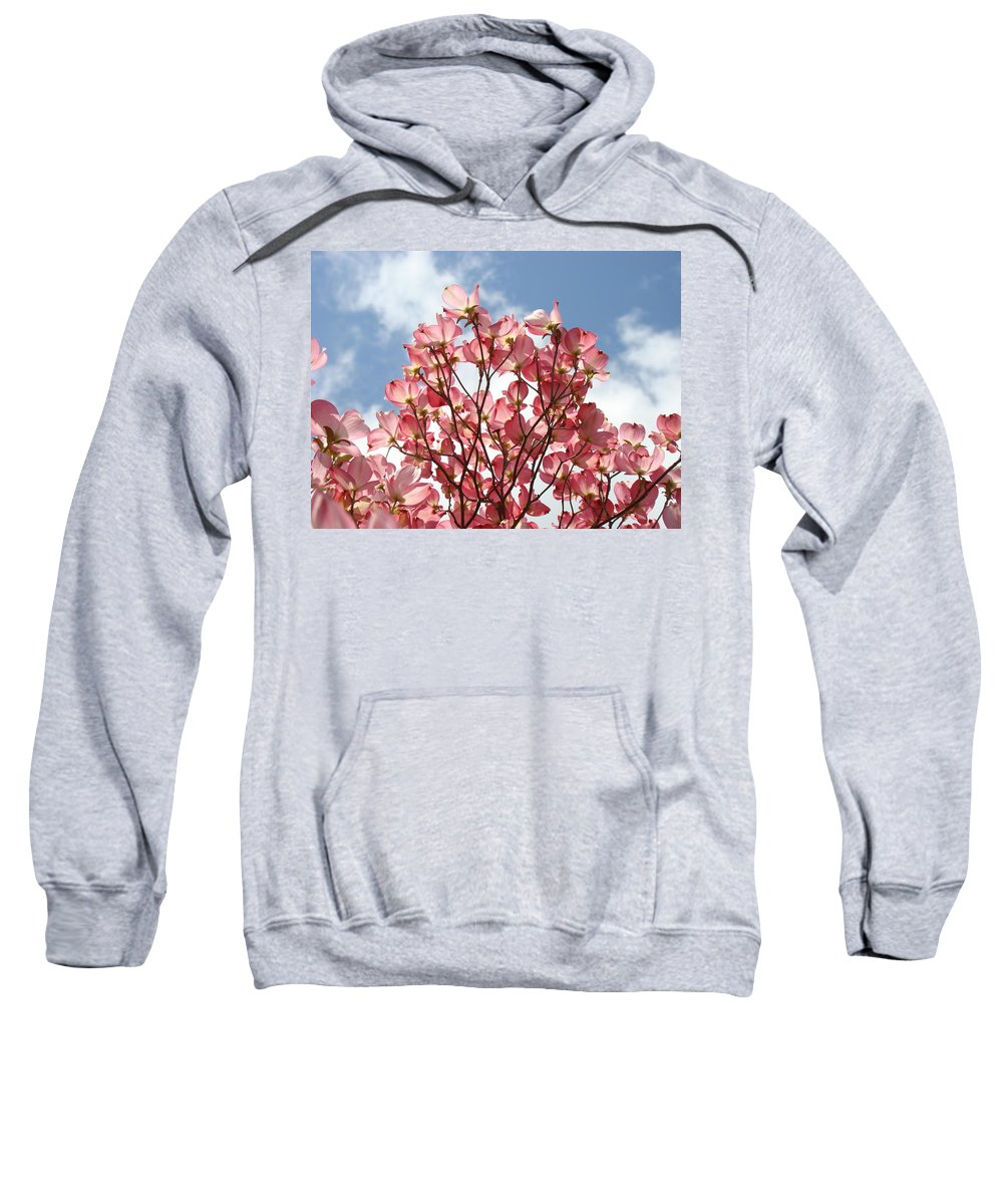 Office Sweatshirt featuring the photograph Office Art Prints Blue Sky Pink Dogwood Flowering 7 Giclee Prints Baslee Troutman by Baslee Troutman