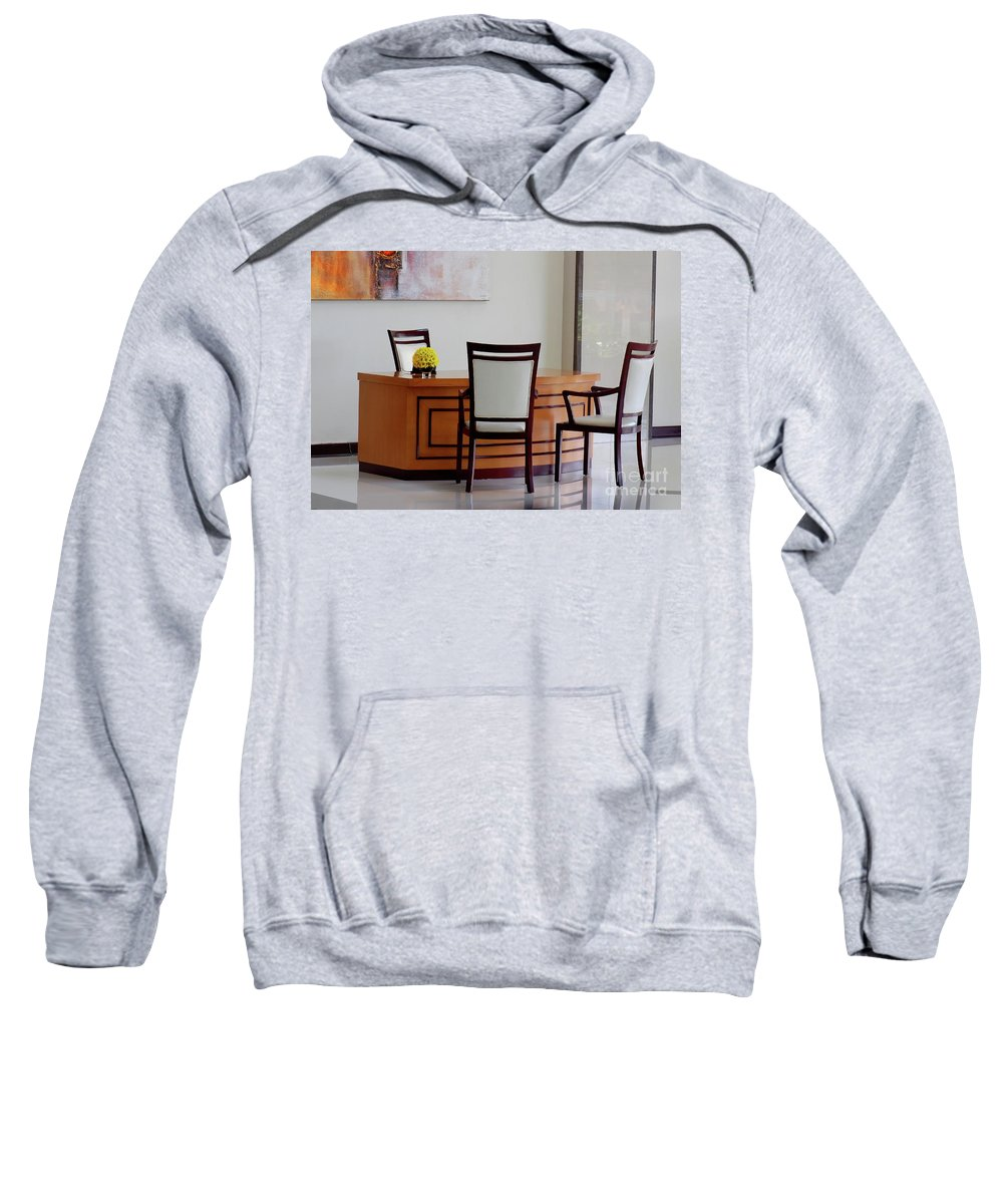 Office Sweatshirt featuring the photograph Office Set Up by Charuhas Images