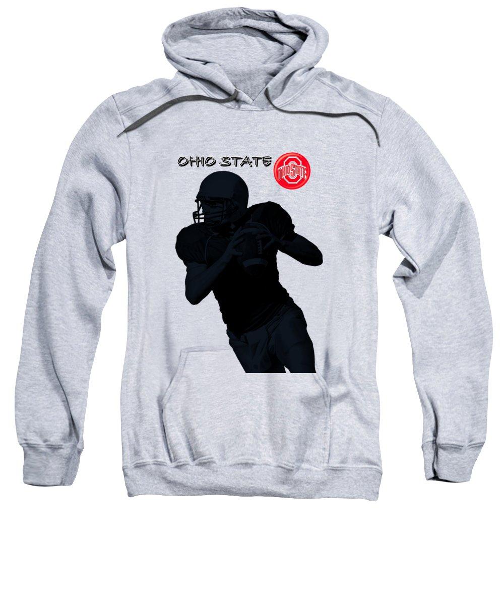 Football Sweatshirt featuring the digital art Ohio State Football by David Dehner