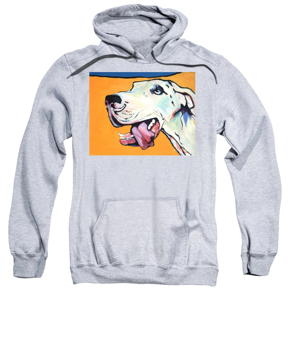 Commissioned Pet Portraits Available Sweatshirt featuring the painting Ol' Blue Eye by Pat Saunders-White