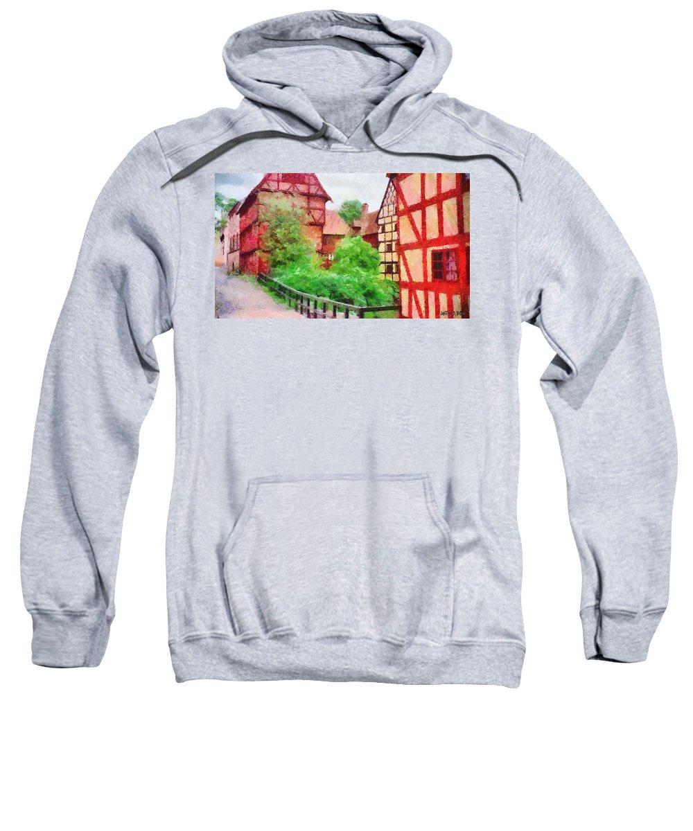 Aarhus Sweatshirt featuring the painting Old Aarhus by Jeffrey Kolker