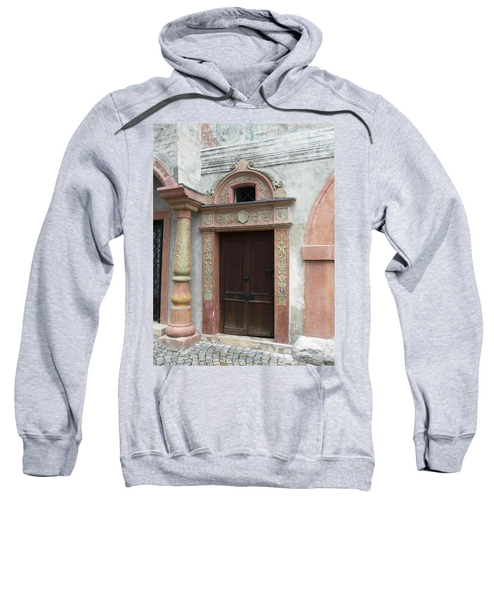 Old Sweatshirt featuring the photograph Old Austrian Door by Valerie Ornstein