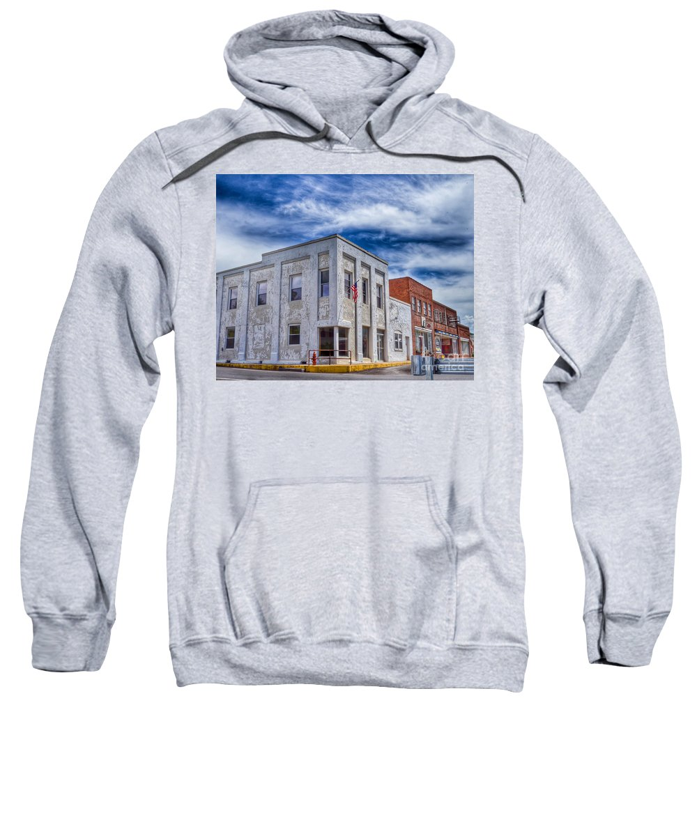 Bank Sweatshirt featuring the photograph Old Bank Building - Peterstown West Virginia by Kerri Farley