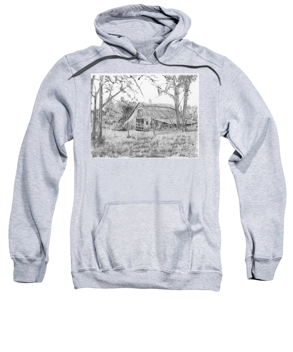 Old Barn Sweatshirt featuring the drawing Old Barn 2 by Barry Jones