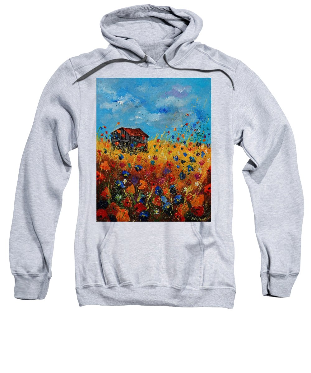 Flowers Sweatshirt featuring the painting Old Barn And Wild Flowers by Pol Ledent