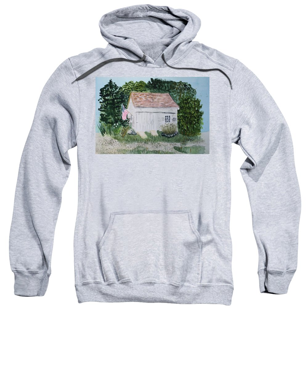 Barn Sweatshirt featuring the painting Old Barn In Eastham Ma by Donna Walsh