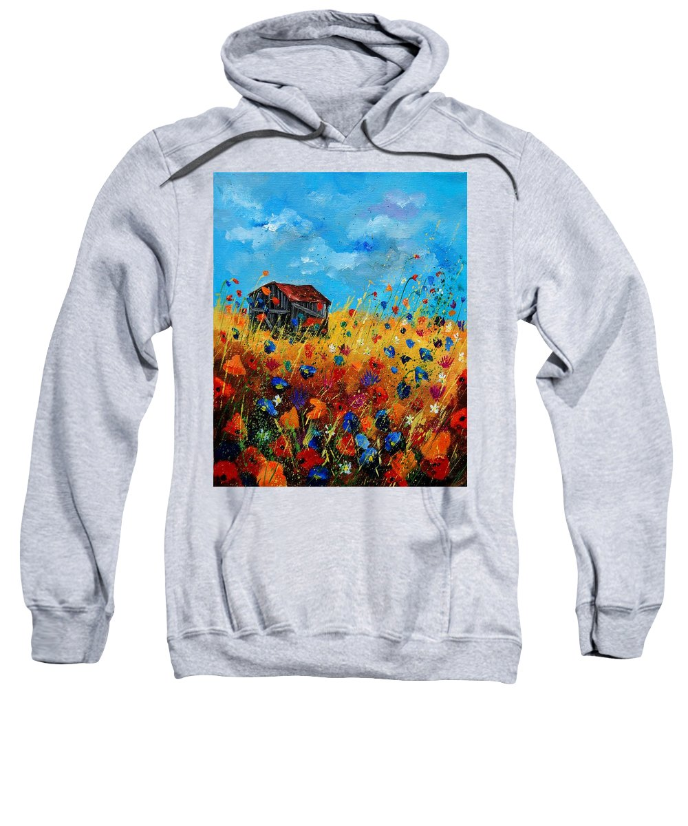 Poppies Sweatshirt featuring the painting Old barn by Pol Ledent