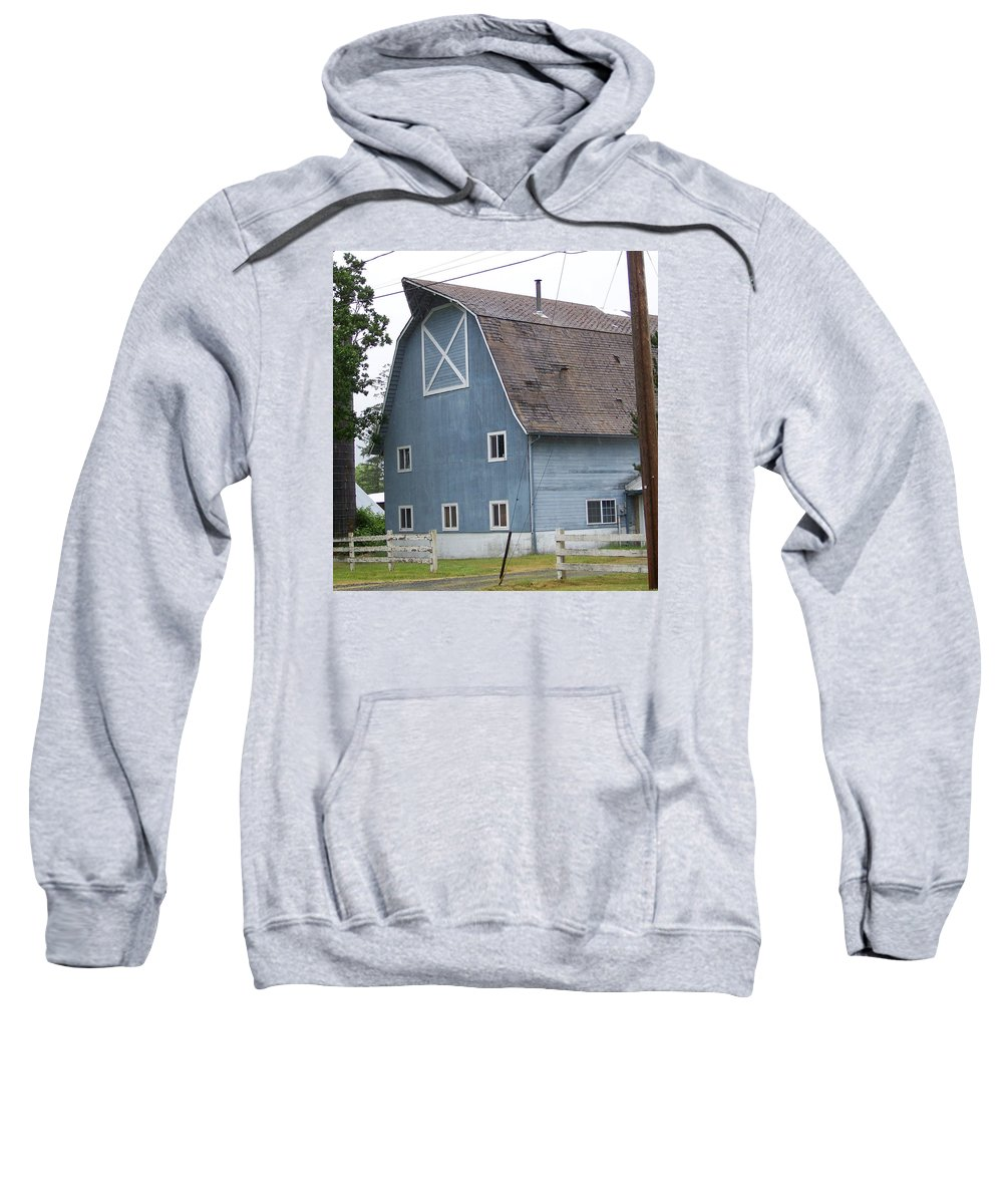 Old Sweatshirt featuring the photograph Old Blue Barn Littlerock Washington by Laurie Kidd