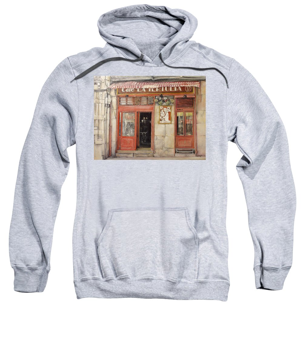 Cafe Sweatshirt featuring the painting Old Cafe- Santander Spain by Tomas Castano
