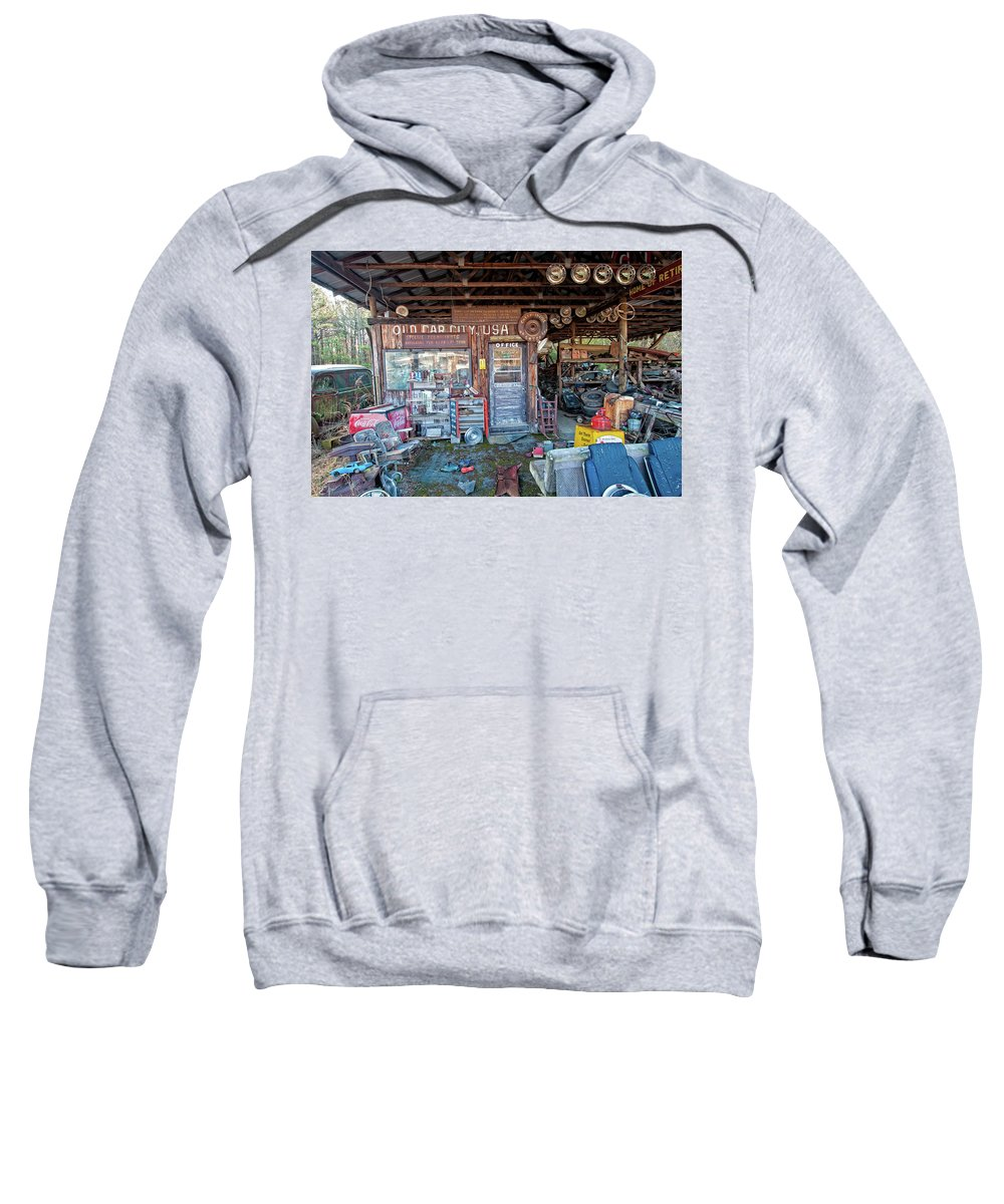 Old Car City Sweatshirt featuring the photograph Old Car City Office by Carl R Schneider