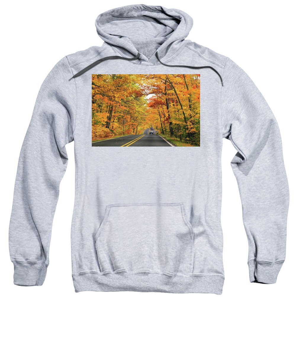 Copper Harbor Sweatshirt featuring the photograph Old Car Tour To Copper Harbor by Ron Long