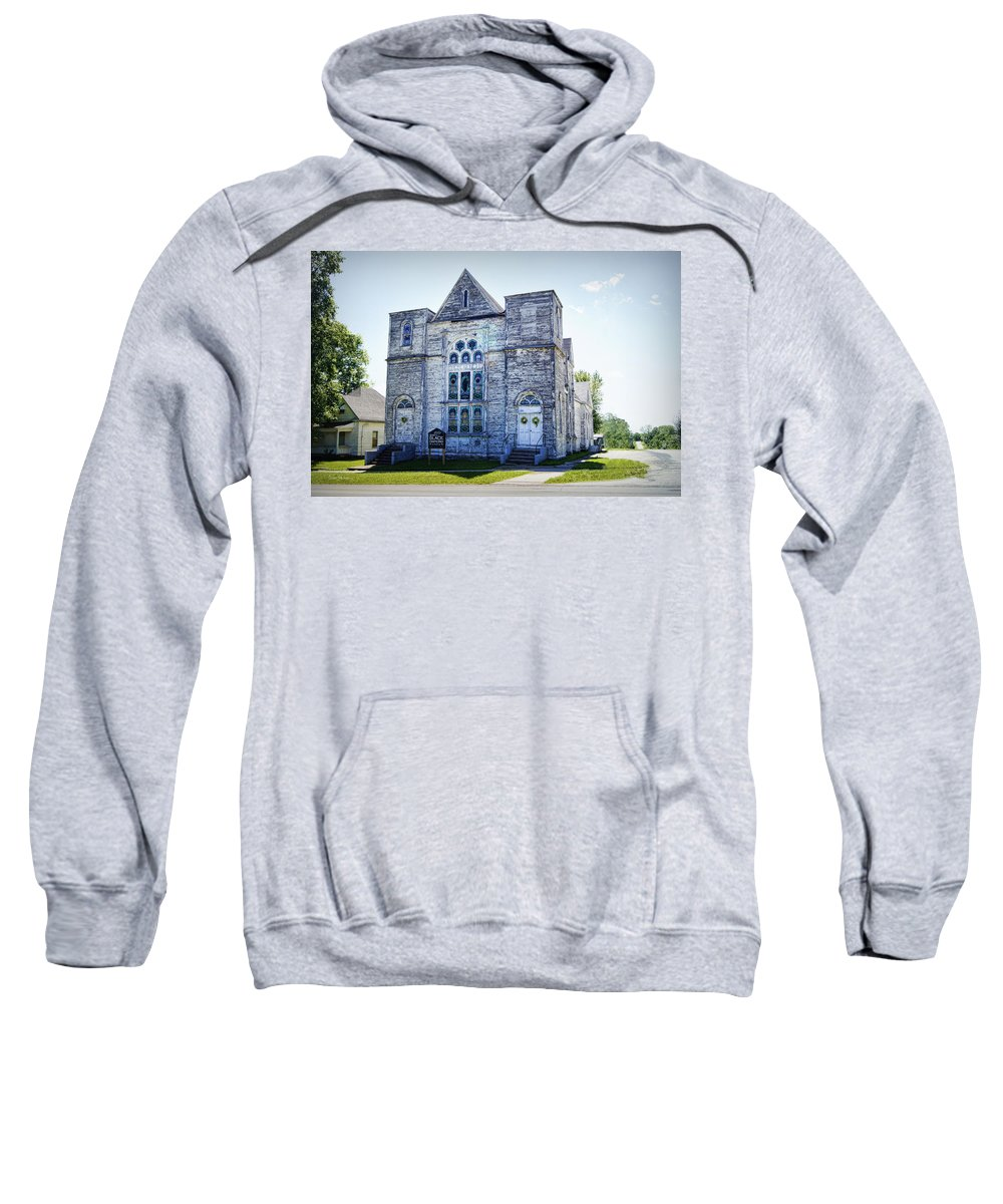 Church Sweatshirt featuring the photograph Old English Congregational Church by Cricket Hackmann
