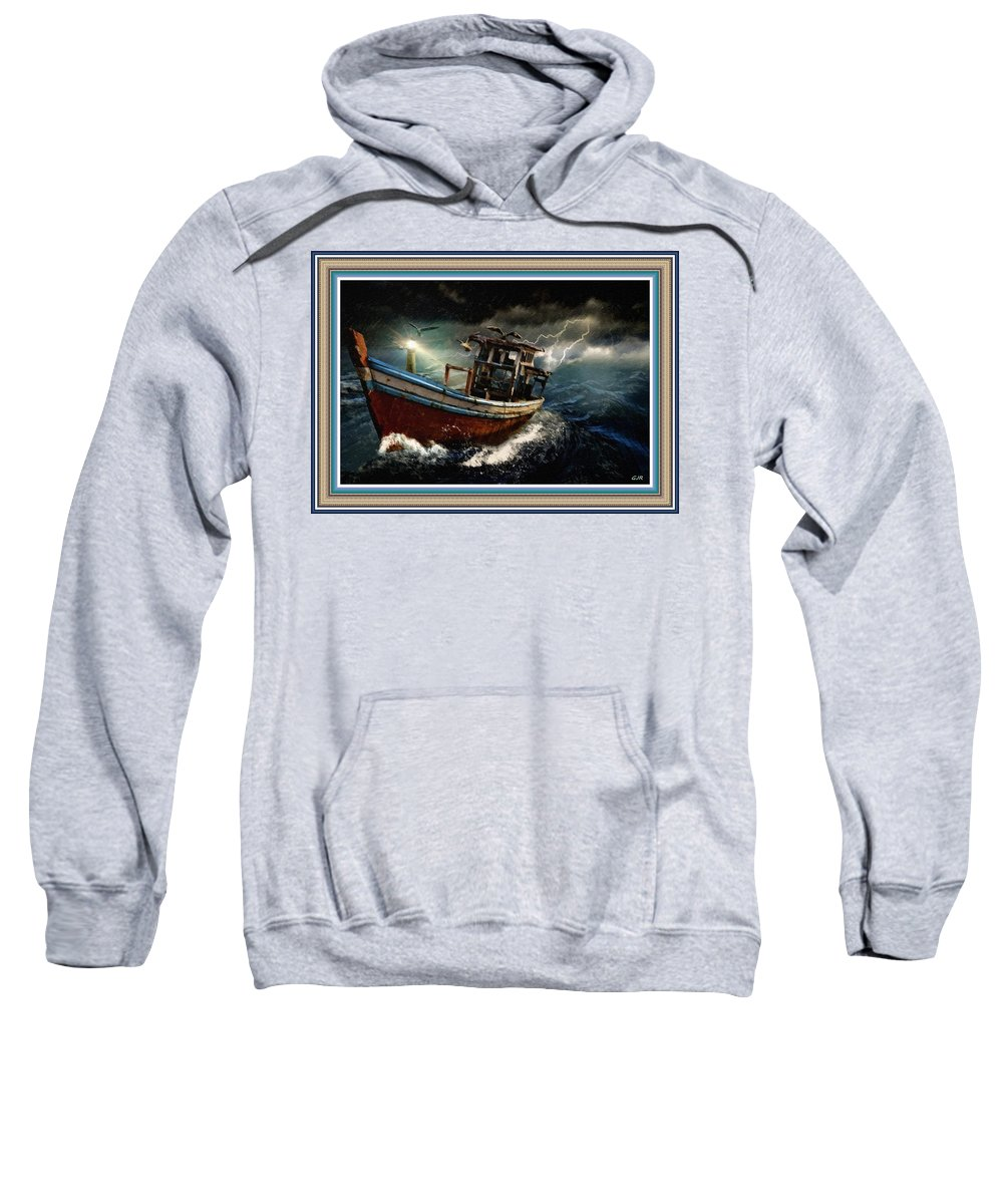 Boat Sweatshirt featuring the painting Old Fishing Boat In A Storm L B With Decorative Ornate Printed Frame. by Gert J Rheeders