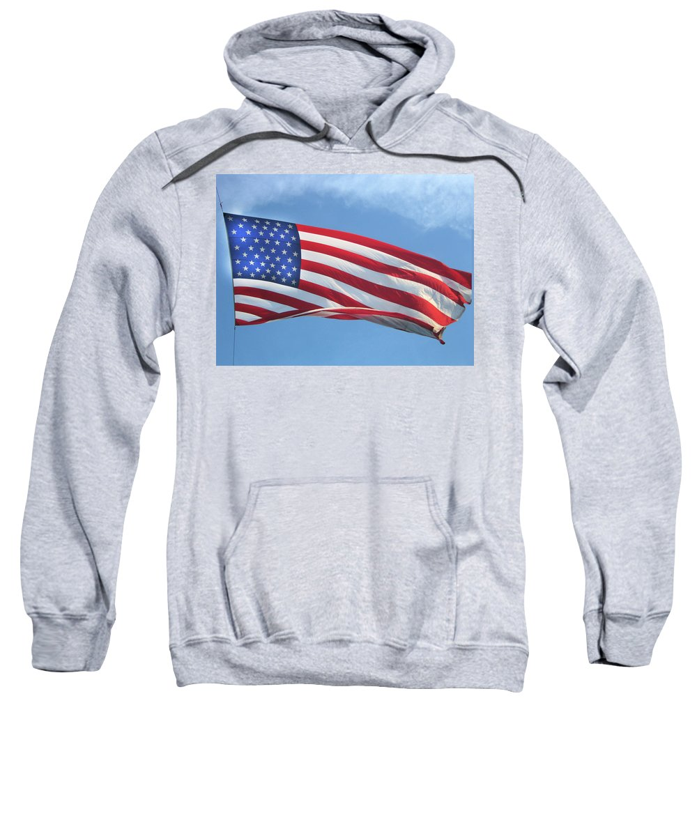 Old Glory Sweatshirt featuring the digital art Old Glory Never Fades by Gary Baird