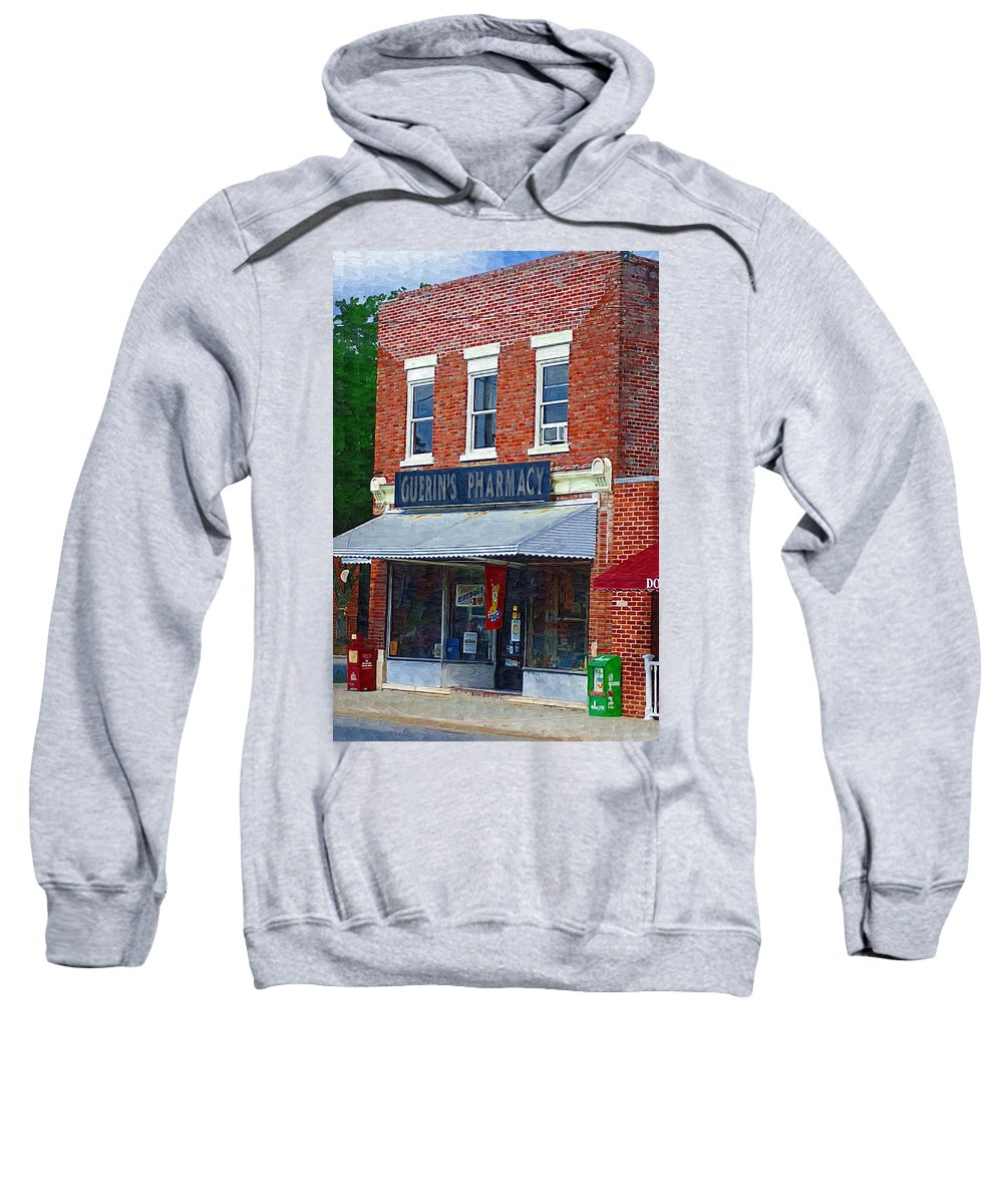 Old Buildings Sweatshirt featuring the photograph Old Guerins Pharmacy by Donna Bentley