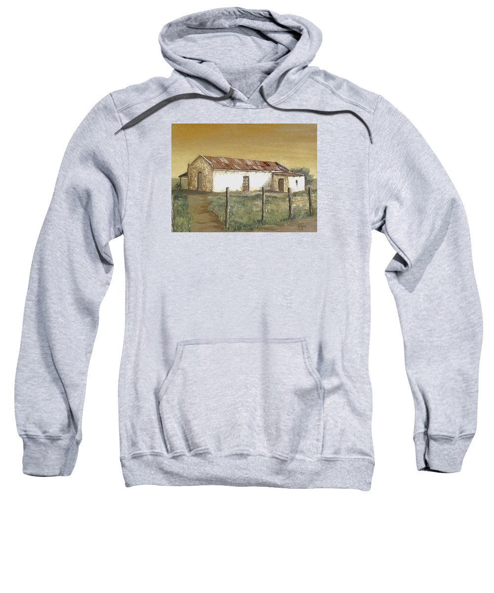 Old House Landscape Country Sweatshirt featuring the painting Old House by Natalia Tejera