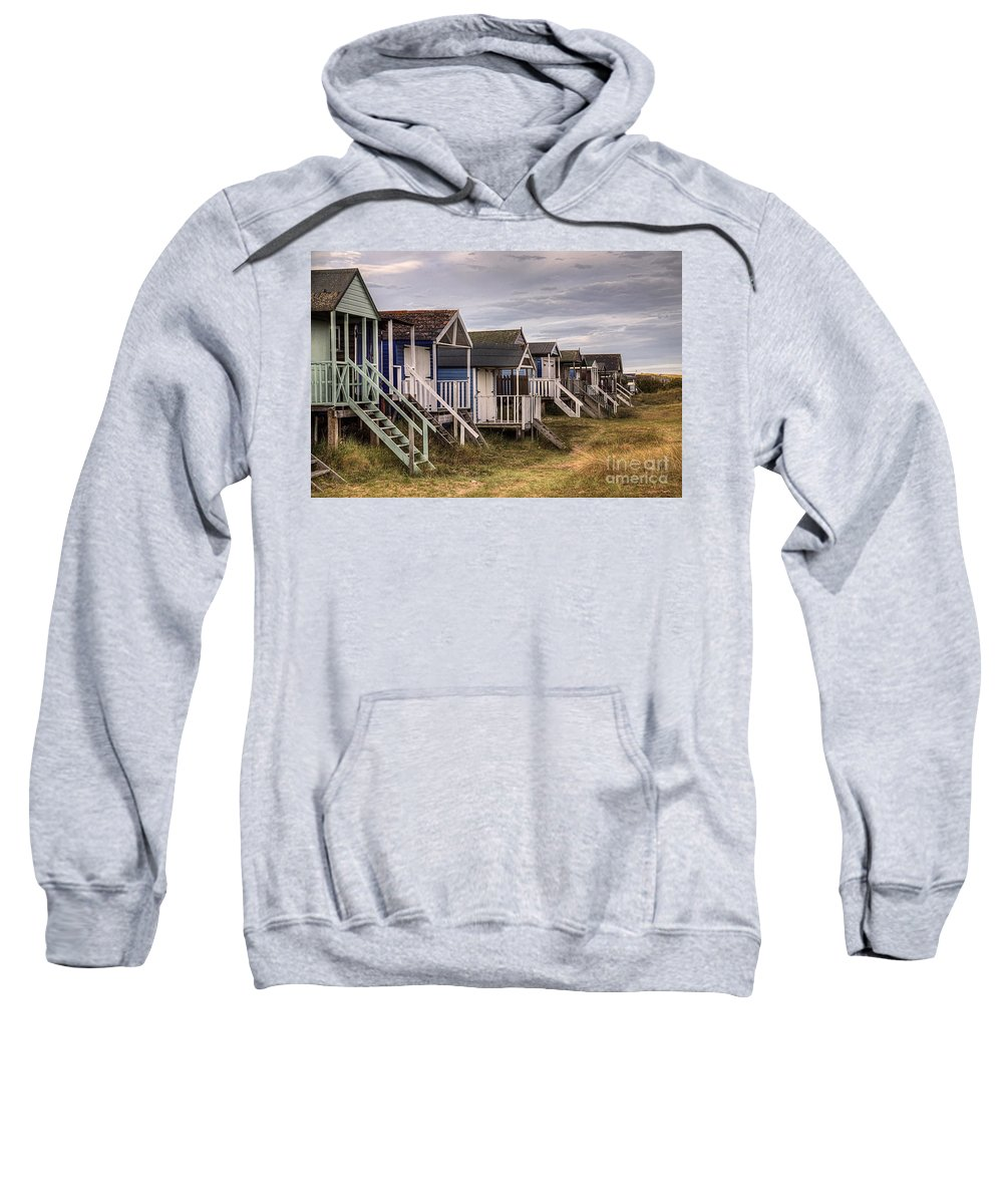 Hut Sweatshirt featuring the photograph Beach Huts At Old Hunstanton by John Edwards