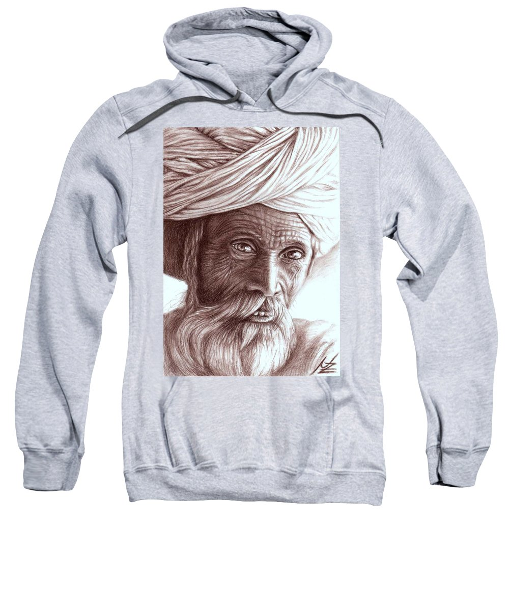 Man Sweatshirt featuring the drawing Old Indian Man by Nicole Zeug