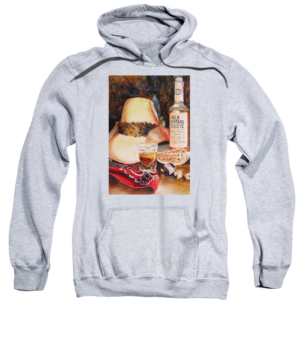 Whiskey Sweatshirt featuring the painting Old Montana Red Eye by Karen Stark