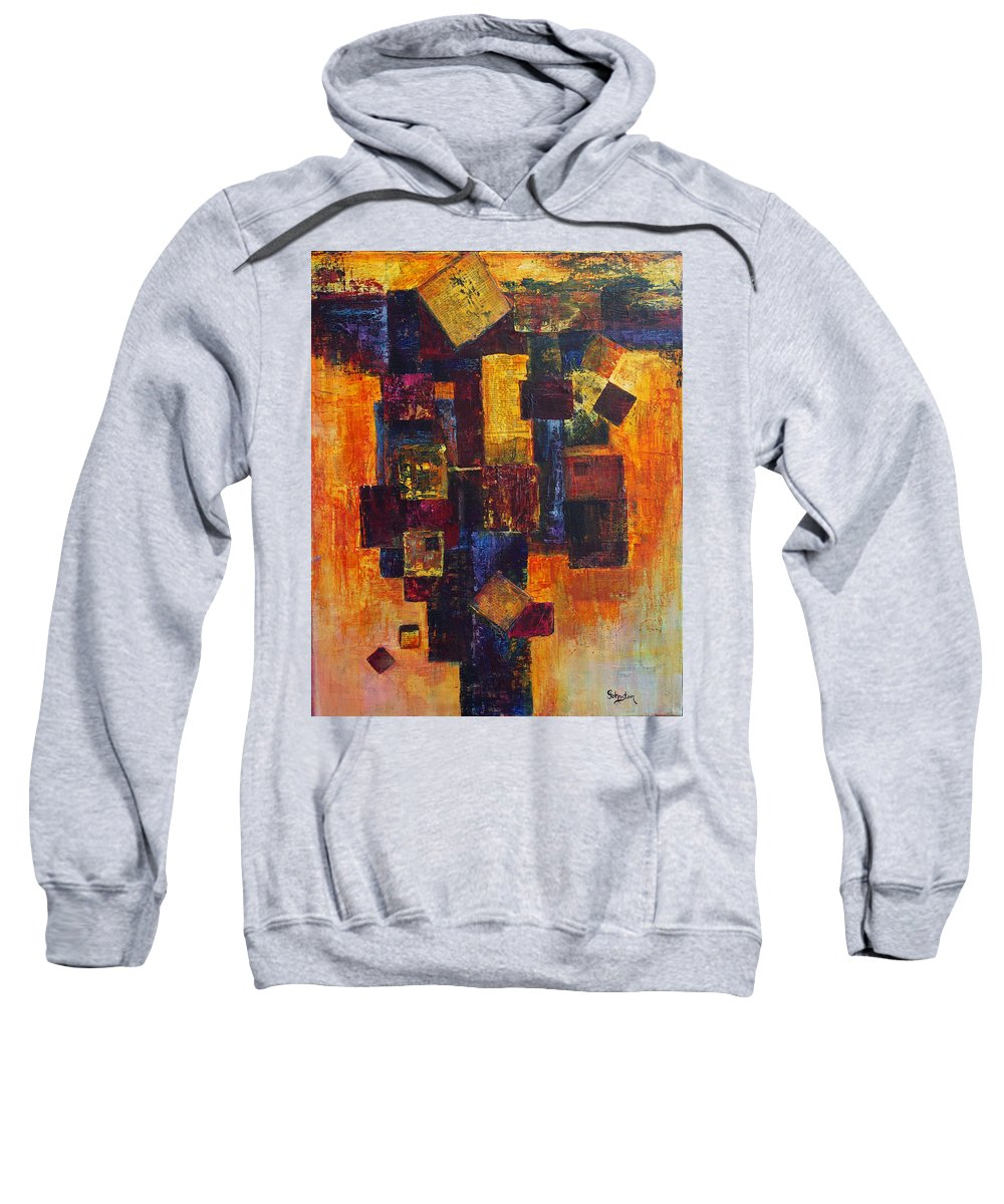 Grid Sweatshirt featuring the painting Old News by Cindy Johnston