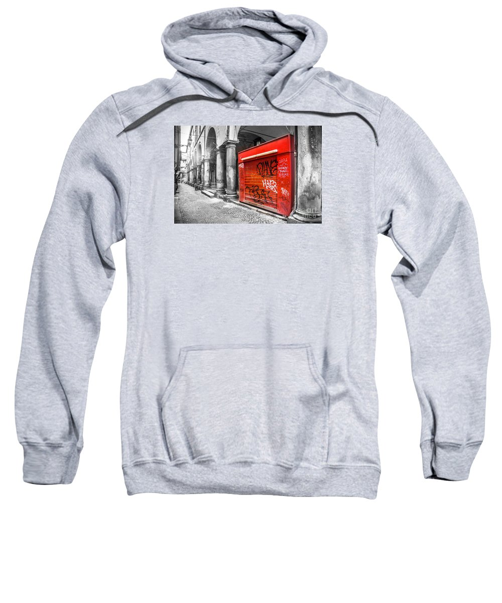 Black And White Sweatshirt featuring the photograph Old Newsstand Closed In Bologna Canvas - Technique Of Selective Color - Black And White Only Red by Luca Lorenzelli