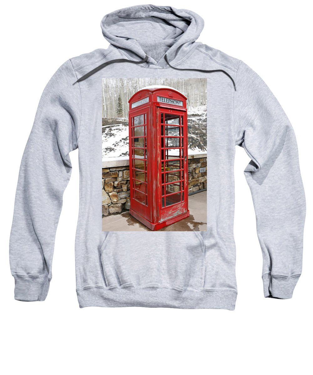 Communication Sweatshirt featuring the photograph Old Phone Booth by Marilyn Hunt