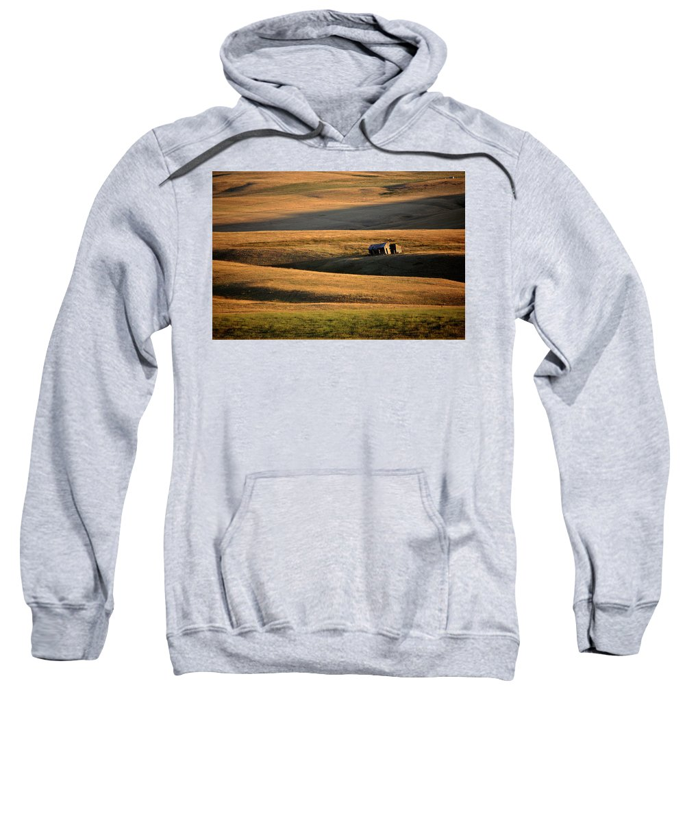 Foothills Sweatshirt featuring the digital art Old Ranch Buildings In Alberta by Mark Duffy