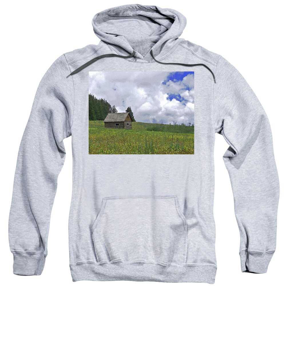 Ranchers Summer Cabin Sweatshirt featuring the photograph Old Ranchers Summer Cabin Redone by Ernie Echols