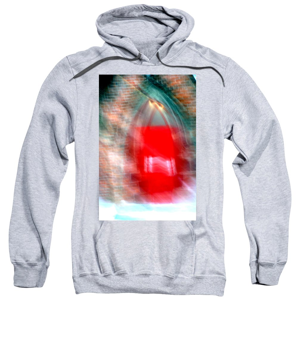 Red Sweatshirt featuring the photograph Old Red Door Abstract by Anthony Jones