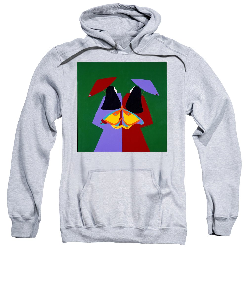 Asian Sweatshirt featuring the painting Old Same by Synthia SAINT JAMES